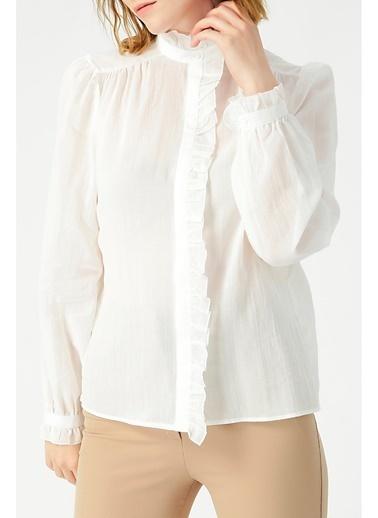 Random Kadın Kolları Fırfır Detaylı Hakim Yaka  Gömlek Beyaz
